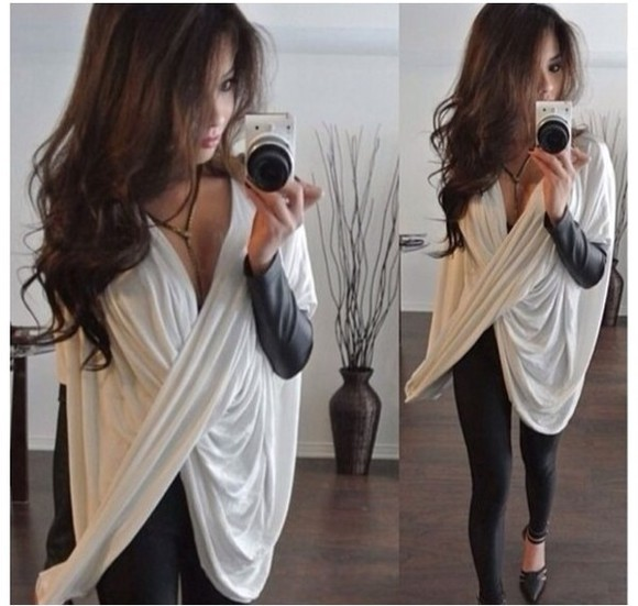 blouse deep v neck sexy sweater plunge v neck sexy sweatershirt
