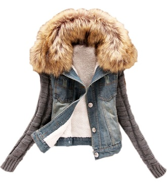 jacket denim jacket denim jacket vintage coat fashion fur jacket fur collar fur trim cardigan fur style jacket coat jacket clothes blazer jacket cardigan chic www.chicmeboutique.com hat