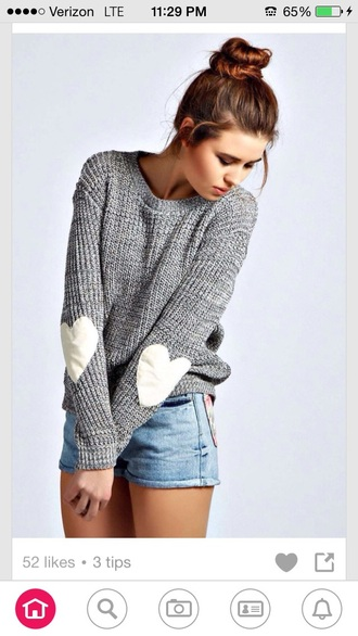 sweater grey white heart sleeves elbo patches