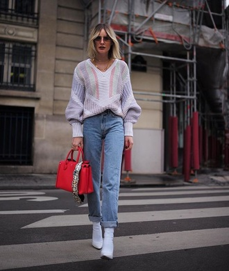sweater pastel sweater white boots bag red bag jeans denim black boots boots ankle boots sunglasses