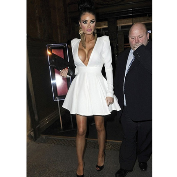 22063467a2be dress white long sleeves long sleeve dress low cut dress chloe sims dress
