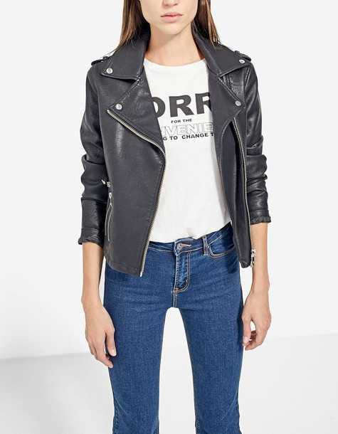 Stradivarius jacket biker jacket leather black