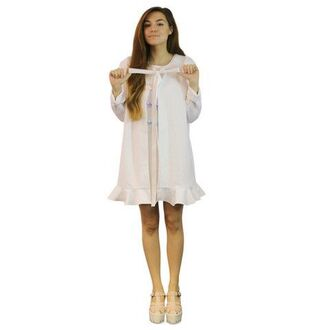 cardigan so cute doll sweater jumper tie bow ribbon white cream ruffle peplum flare flair long short dress marzia girl sweet adorable pretty love open loose baggy boho