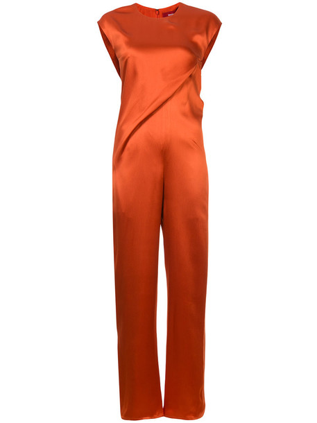 jumpsuit women draped silk yellow orange