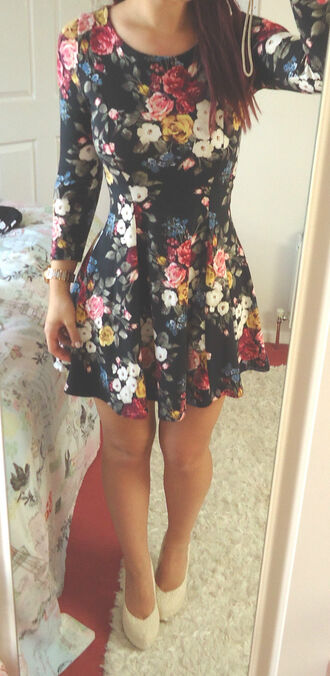 dress forever 21 floral skater skater dress long sleeve dress long sleeves floral dress flare