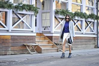 shiny sil blogger make-up white skirt slit skirt blue grey coat