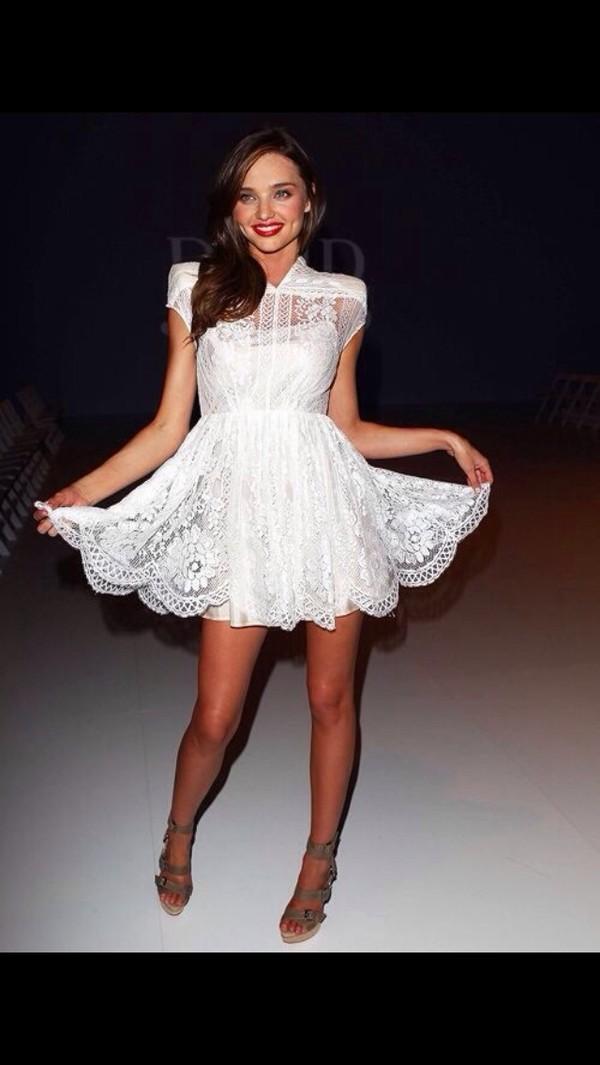 dress mirandakerr white lace gorgeous