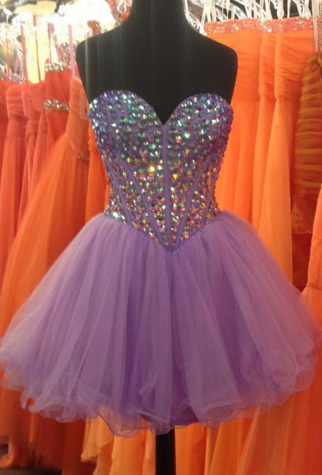 Rhinestone Corset-style Strapless Lilac Layered Cocktail Dress [Rhinestone Sweetheart Lilac] - $169.00 : Prom Dresses 2013, Homecoming Dresses 2013--PromSister