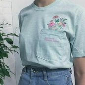 shirt,clothes,shirts with sayings,pastel,flowers,flower shirt,pocket t-shirt,cute,cute top,women,light blue