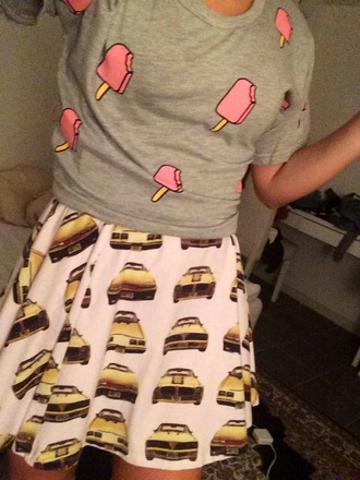 car cars taxi dress taxi yellow yellow cars grey grey shirt ice cream t-shirt blouse