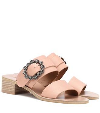 embellished sandals leather sandals leather pink shoes