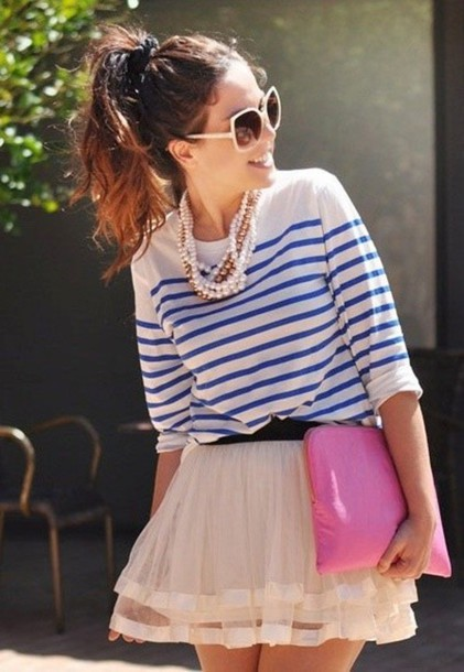 blouse blue and white striped blouse tutu pink skirt short skirt pearl skirt jewels