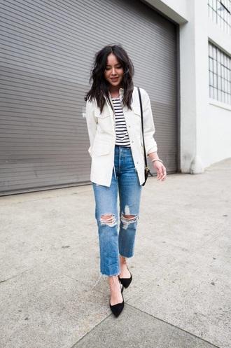 jacket white jacket top striped top denim blue jeans ripped jeans black shoes stripes jeans shoes