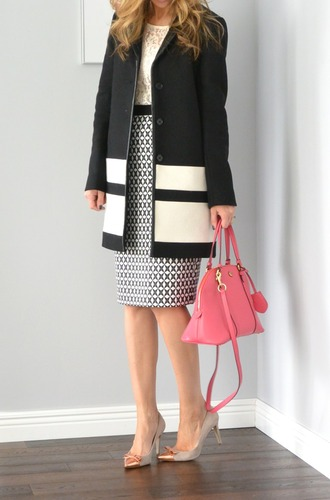 lilly's style blogger office outfits classy handbag pencil skirt coat top skirt shoes bag jewels