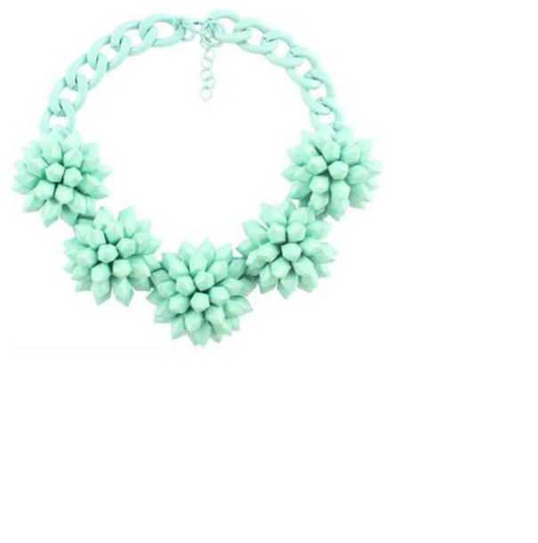 jewels flowers massive bloom mint chain necklace