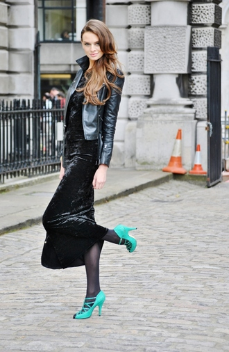 dress leather jacket velvet slip dress sexy dress blue heels blogger date outfit