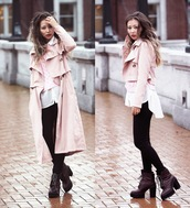 different cands,blogger,jacket,sweater,blouse,pink coat,amazing,platform lace up boots,coat,trench coat,pastel pink