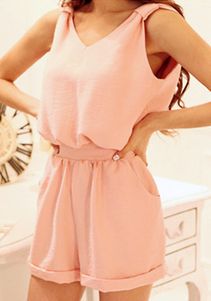 Bow Cutout Back Romper - Baby Pink - Lookbook Store
