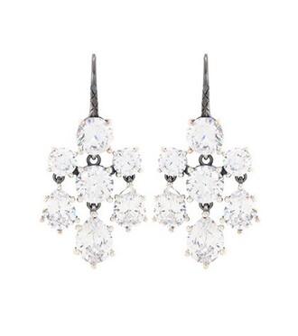 silver earrings embellished earrings silver white jewels
