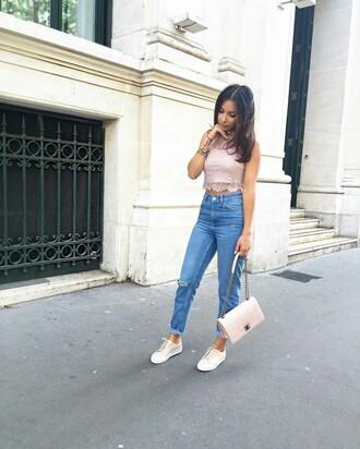 top tumblr pink top crop tops lace top jeans denim blue jeans sneakers pink sneakers low top sneakers bag pink bag chanel chanel bag