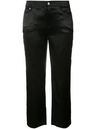 cropped women black silk pants
