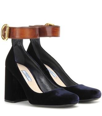 pumps leather velvet blue shoes
