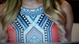 blouse tribal aztec coral top