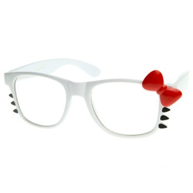 Amazon.com: Womens Retro Fashion Hello Kitty Clear Lens Glasses w/ Bow and Whiskers(White-Red Bow): Shoes
