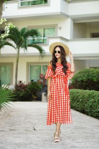 dress hat tumblr red dress midi dress gingham gingham dresses sun hat sandals flat sandals