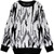 Black White Long Sleeve Tigrina Knit Sweater - Sheinside.com