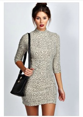 dress,boohoo.com,xxx,laurie,look,leopard print,high neck,bodycon,bodycon dress,short sleeve