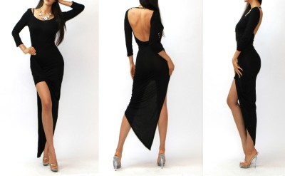 Sexy Chic Asymmetric Drape Skirt Minimalist Backless Jersey Maxi Dress s M L | eBay