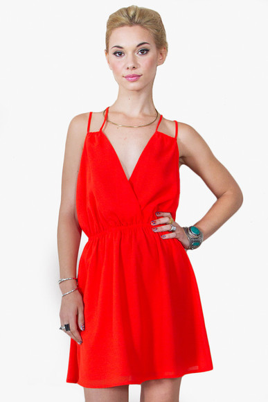 red dress cut-out backless dress tank top dress strappy dress elastic waist