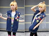 jacket,denim vest,navy,lips,kiss