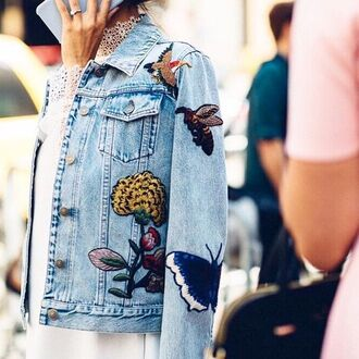 jacket tumblr denim jacket blue jacket embroidered embroidered jacket streetstyle insects embellished denim birds butterfly flowers