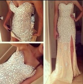prom dress shiny dress glitter prom formal diamonds sparkles dress