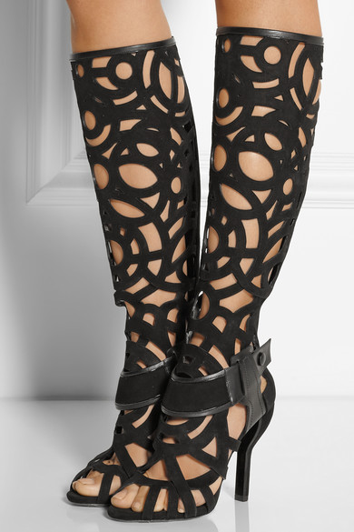 Cut suede knee boots