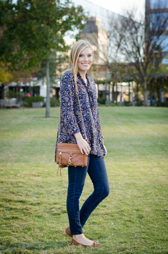 life with emily blogger printed blouse