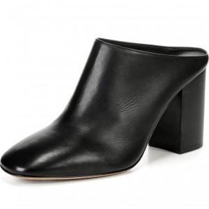 Women's Black Block Heels Mule Square Toe Pumps