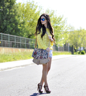 petit and sweet couture,sweater,shorts,shoes,bag,sunglasses,jewels