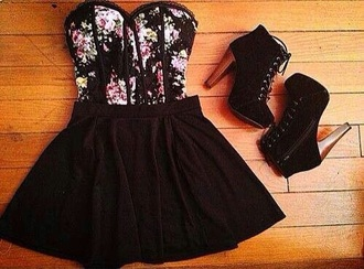 top black floral bustier corset shoes high heels wood heel goth emo dark heels bralette dress