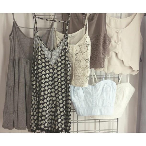 dress grey grey white floral crochet crop tops