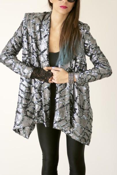 jacket silver black blazer glamour glamour glam rock vintage