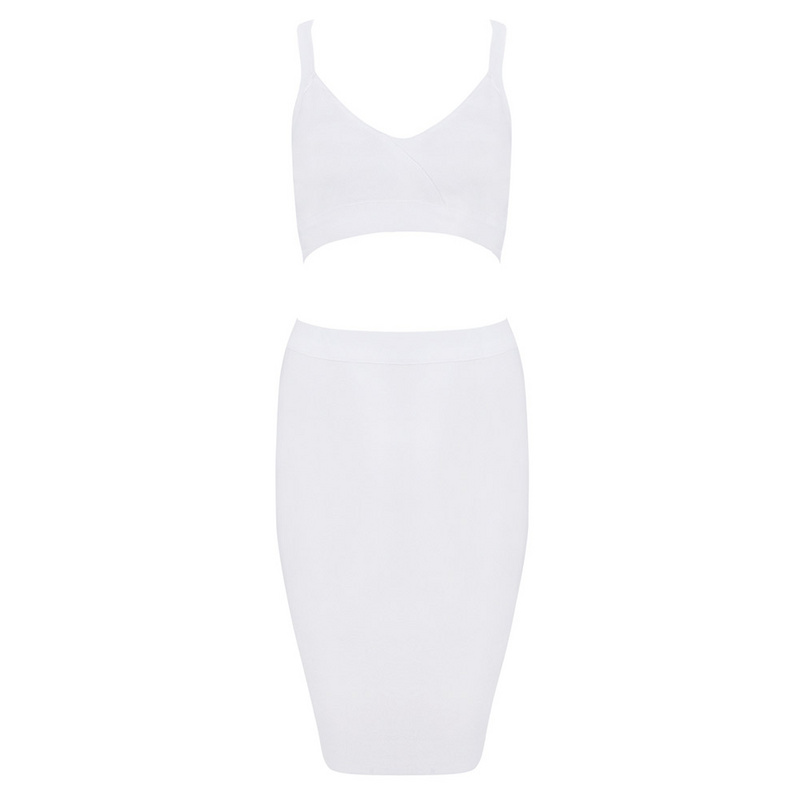 Bqueen White Halter two-pieces Set Strap Bandage Dress H1085