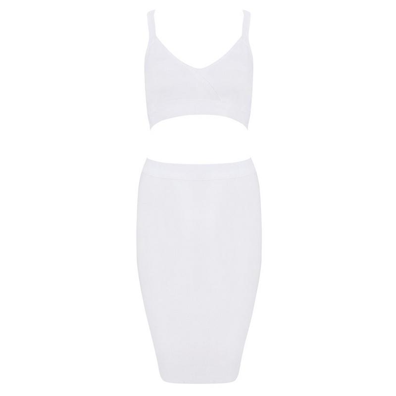 Bqueen White Halter two-pieces Set Strap Bandage Dress H1085