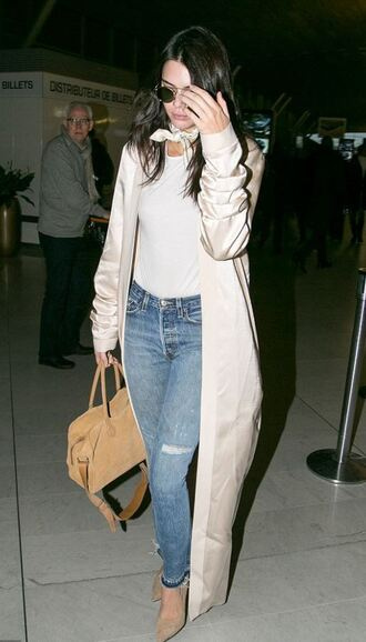 jeans top kendall jenner pumps coat fall outfits purse