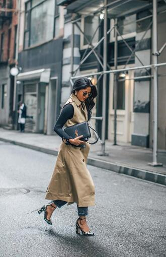 shoes pumps high heels heels stars embellished coat vest top black top bag denim jeans black bag