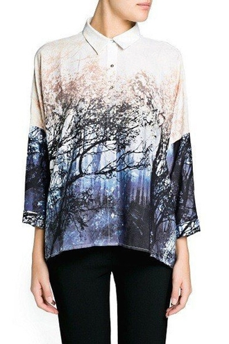 blouse mango zara zaful forest winter forest print autumn/winter printed blouse landscape print blouse free shipping casual casual streetwear scenery print graphic tee print urban streetwear