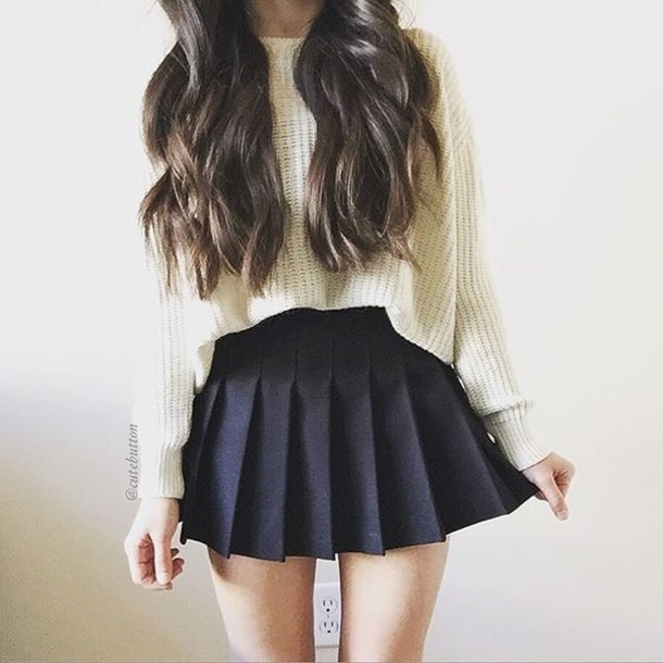 skirt, sweater, white, top, outfit, white sweater, off white