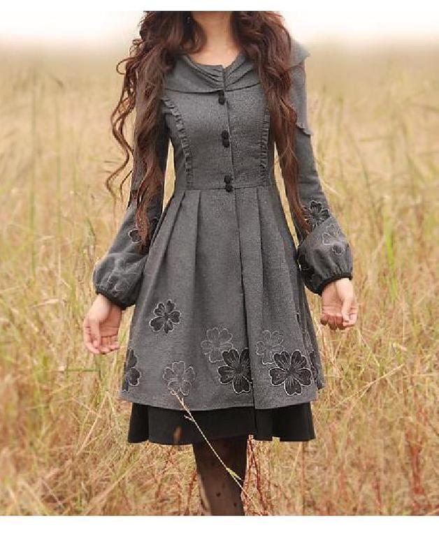 Lange Mäntel - Long sleeve trench coat vintage style mantelkleid - ein Designerstück von Regenbogen-Fashion bei DaWanda